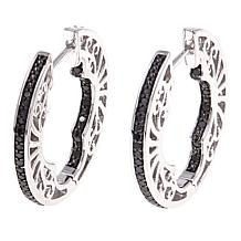 .33ctw Colored Diamond Inside-Outside Sterling Silver Hoop Earrings