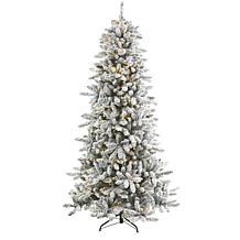 7.5 ft. Flocked Livingston Fir Artificial Christmas Tree with Pine ...