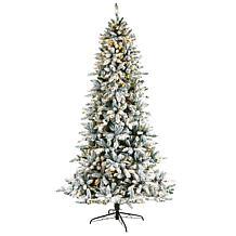 8' Flocked Livingston Fir  Christmas Tree