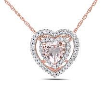.85ctw Morganite and Diamond Heart Pendant