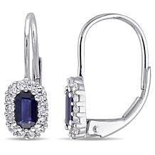 .98ctw Blue and White Sapphire 10K Leverback Earrings