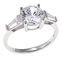 Absolute™ 2.50ctw CZ Round with Baguette Sides 3-Stone Ring