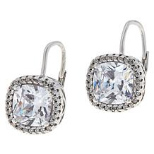 Absolute™ Cubic Zirconia Pavé Halo Leverback Drop Earrings