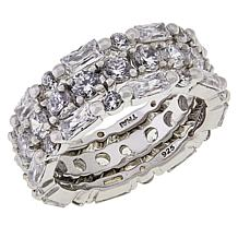 Absolute™ Sterling Silver Baguette and Round 3-piece Eternity Ring Set