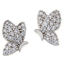 Absolute™ Sterling Silver Cubic Zirconia Pavé Butterfly Stud Earrings