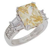 Absolute™ Sterling Silver Rectangular and Mixed-Cut Canary Ring