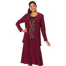 Antthony Antthony 3-piece Jacket Printed Top and Skirt Set