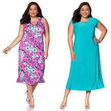 """Antthony """"Blossom and Bloom"""" 2-pack Printed and Solid Dresses"""
