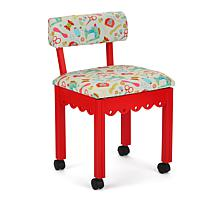 Arrow Sewing Chair with Seat Storage - Red/White