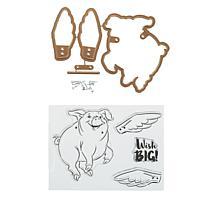 Art Impressions Pig Flutter Stamp and Die Set