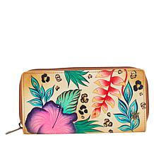 """""""As Is"""" Anuschka Hand-Painted Clutch Wallet with RFID Protection"""