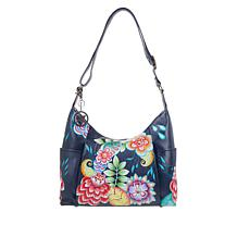 """As Is"" Anuschka Hand-Painted Leather Zip-Front Hobo"
