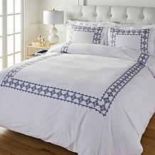 """""""As Is"""" august & leo Embroidered Frame 3-piece Duvet Cover Set"""