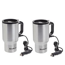 """As Is"" Brookstone Stainless Steel Heated Car Mugs"
