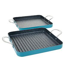 """As Is"" Curtis Stone Dura-Pan Nonstick Square Grill and Griddle"