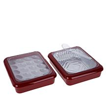 """""""As Is"""" Fancy Panz Set of 2 Serving Trays with Deviled Egg Tray"""
