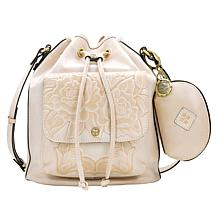 """""""As Is"""" Patricia Nash Sabina Leather Drawstring Bag with Pouch"""
