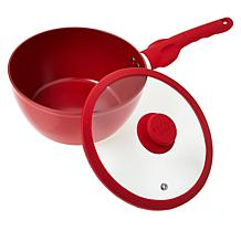 """As Is"" Safe-T-Grip 3.3-Quart Ceramic Nonstick Saucepan with Lid"