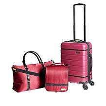 """""""As Is"""" Samantha Brown 3pc Hardside Spinner, Satchel & Cosmetic Case"""