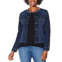 """As Is"" Skinnygirl Collarless Fray Denim Jacket with Stripe"