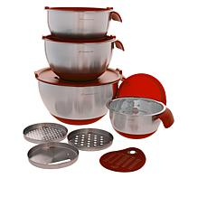 """As Is"" Wolfgang Puck 12-piece Stainless Steel Mixing Bowl Prep Set"