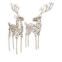 august & leo Set of 2 Reindeer with Glitter and Jewel-Like Accents