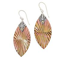 Bali Designs 2-Tone Carved Mother-of-Pearl Dangle Earrings