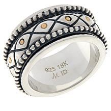 Bali Designs Sterling Silver and 18K Beaded Spinner Ring