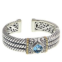 Bali Designs Sterling Silver and 18K Gemstone Cable Cuff