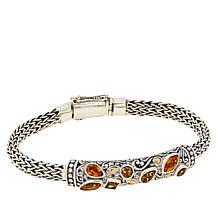 Bali Designs Sterling Silver Gemstone Tulang Naga Scroll Bracelet
