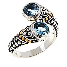 Bali RoManse Sterling Silver and 18K Gem Popcorn Pattern Bypass Ring