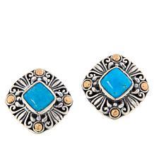 Bali RoManse Sterling Silver and 18K Gem Scrollwork Stud Earrings