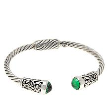 Bali RoManse Sterling Silver Created Gemstone Hinged Cable Cuff