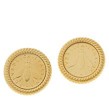 Bellezza Bronze Bee Lira Coin Bronze Rope Frame Stud Earrings