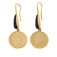"Bellezza ""Fiabesco"" 50 Lira Coin Black Spinel Earrings"