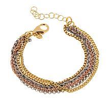 Bellezza Tri-Color Bronze Multi-Chain 5-Row Bracelet