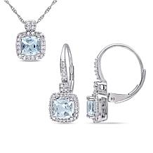 Bellini 10K White Gold Aquamarine and Diamond Halo Pendant & Earrings