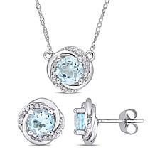 Bellini 10K White Gold Sky Blue Topaz & Diamond Swirl Jewelry Set