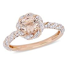 Bellini 14K Rose Gold Morganite and Diamond Twisted Halo Ring