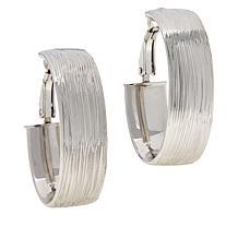 Bianca Milano Sterling Silver Brushed Oval Hoop Earrings