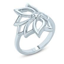 BlesT Sterling Silver White Topaz Lotus Flower Ring