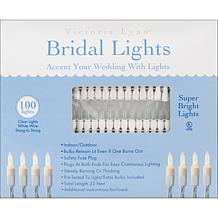 Bridal Lights 100 Count 32 Feet - Clear Bulbs W/White Wire