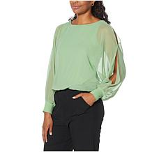 Brittany Humble Cold Shoulder Dolman-Sleeve Poncho Top