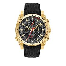 "Bulova ""Precisionist"" Men's Goldtone Case Black Nylon Strap Watch"