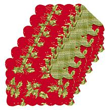 C&F Home Holly Red Cotton Quilted Reversible Oblong Placemat Set of 6