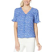 CeCe Toile-Print Ruffle-Sleeve Button-Front Blouse