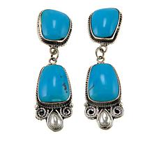 Chaco Canyon Double Kingman Turquoise Sterling Silver Drop Earrings