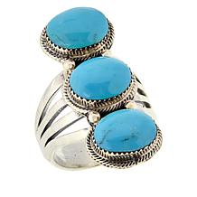 Chaco Canyon Sterling Silver 3-Stone Oval Kingman Turquoise Ring