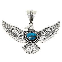 Chaco Canyon Sterling Silver Kingman Turquoise Eagle Pendant