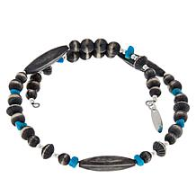 Chaco Canyon Sterling Silver Navajo Bead and Turquoise Wrap Bracelet